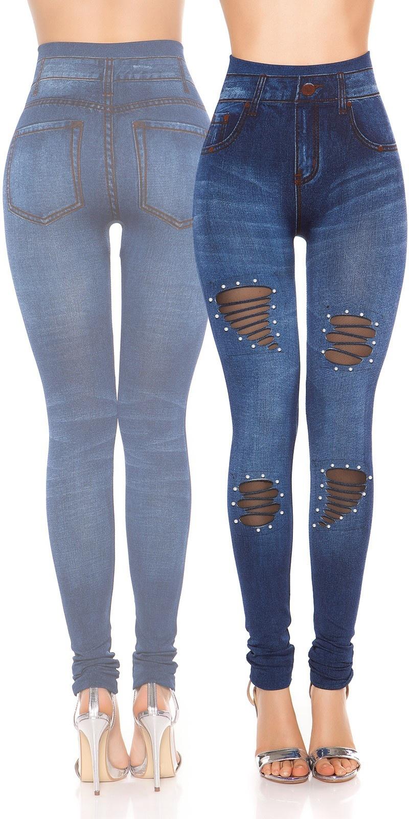 Sexy jeanslook-leggings met kralen blauw