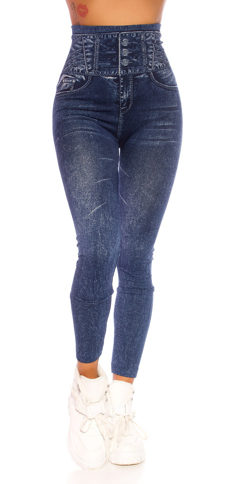 Trendy hoge taille jeanslook leggings blauw