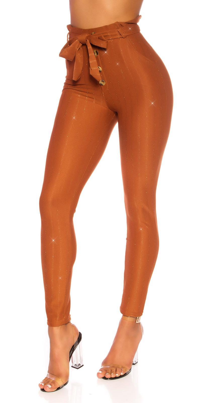 Sexy hoge taille broek met glitter en riem bruin
