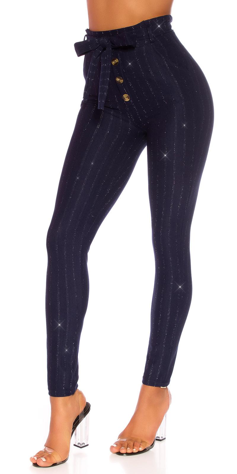 Sexy hoge taille broek met glitter en riem marineblauw