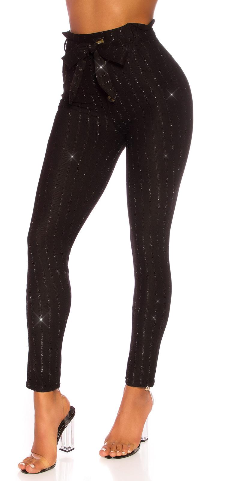 Sexy hoge taille broek met glitter en riem zwart