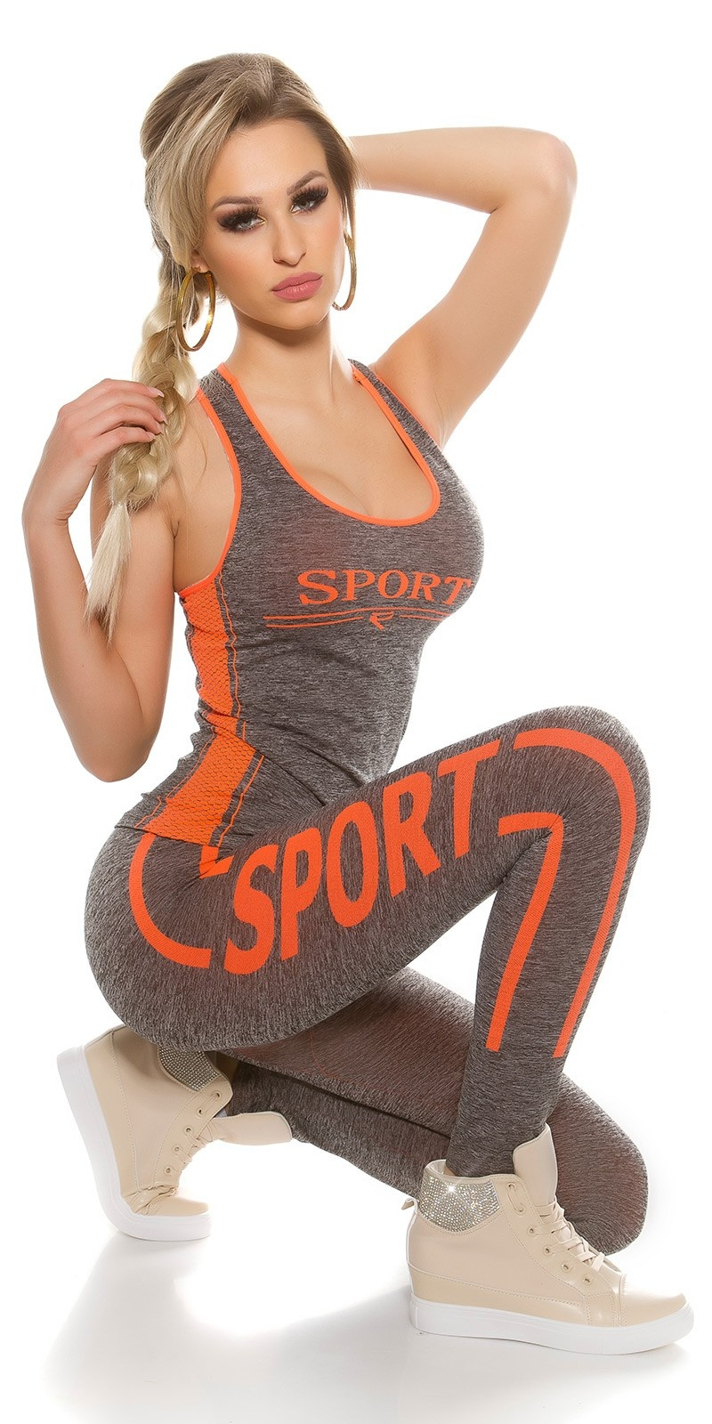Trendy workout outfit with tanktop & leggins Neonorange