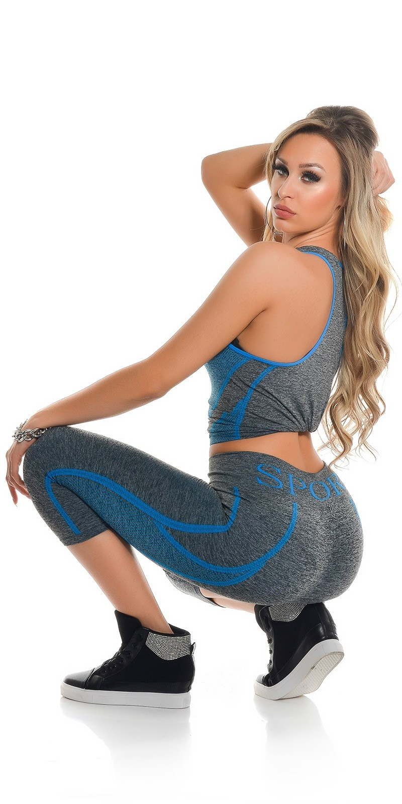 Trendy Workout Outfit Tanktop & Caprileggings Blue