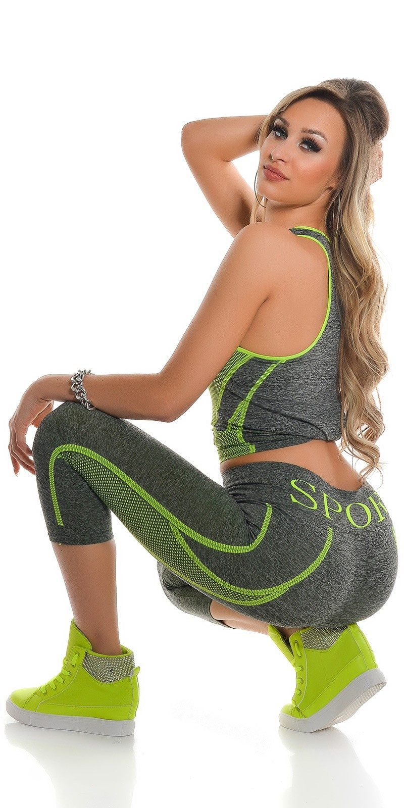 Trendy Workout Outfit Tanktop & Caprileggings Neonyellow