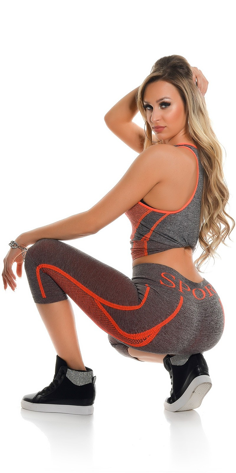 Trendy Workout Outfit Tanktop & Caprileggings Orange