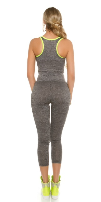 Trendy Workout Outfit Tanktop & Leggings Neonyellow