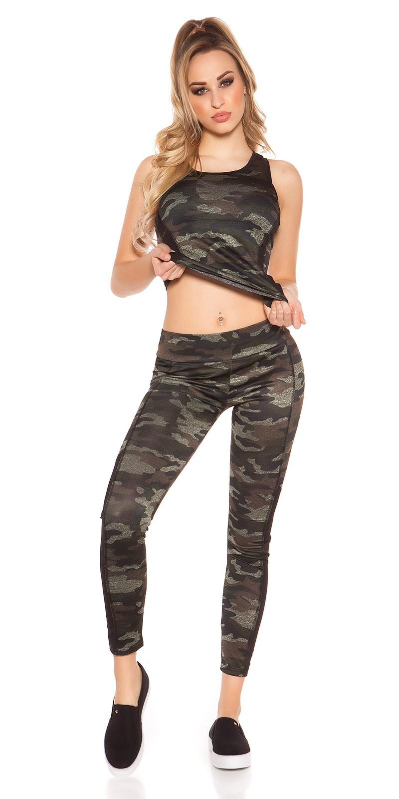 Trendy workout-sport outfit met top & leggings zwart