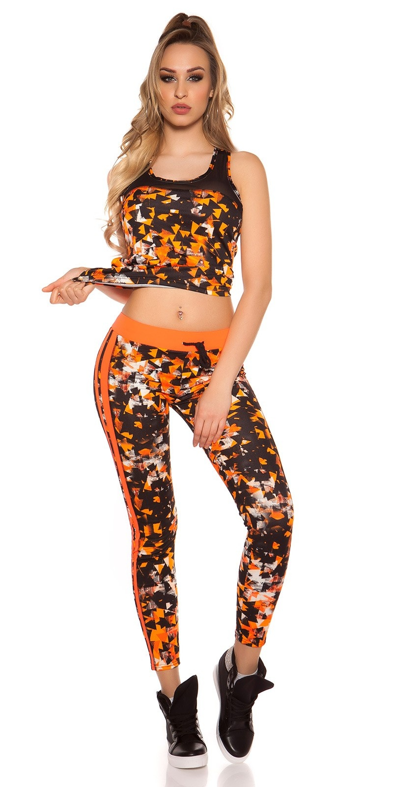 Trendy Workout Outfit With Top & Leggings Neonorange