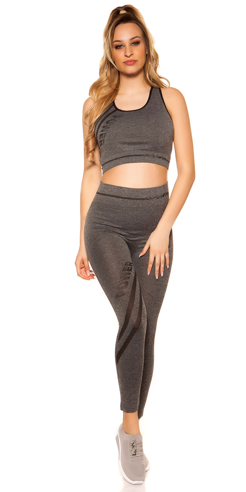 Trendy workout-sport outfit crop top & leggings zwart