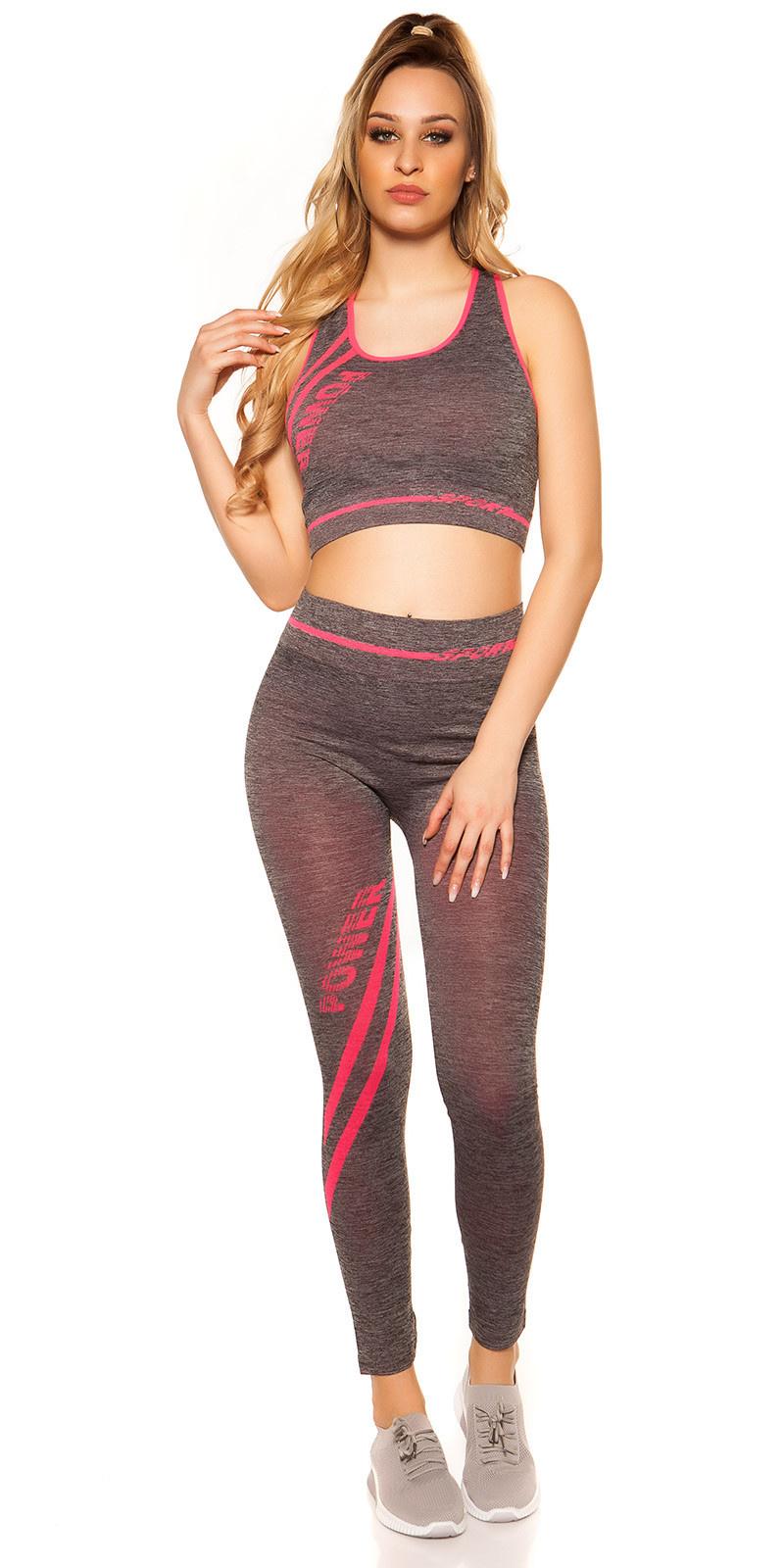 Trendy workout-sport outfit crop top & leggings neonfuchsiaroze