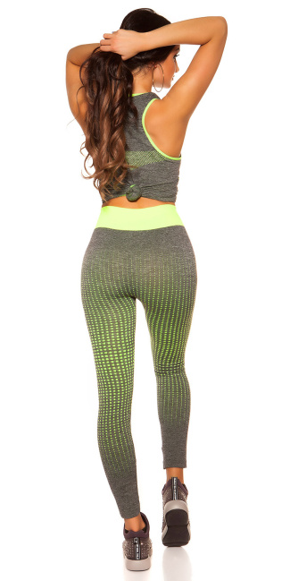 Trendy Workout Outfit Top + Leggings Neonyellow