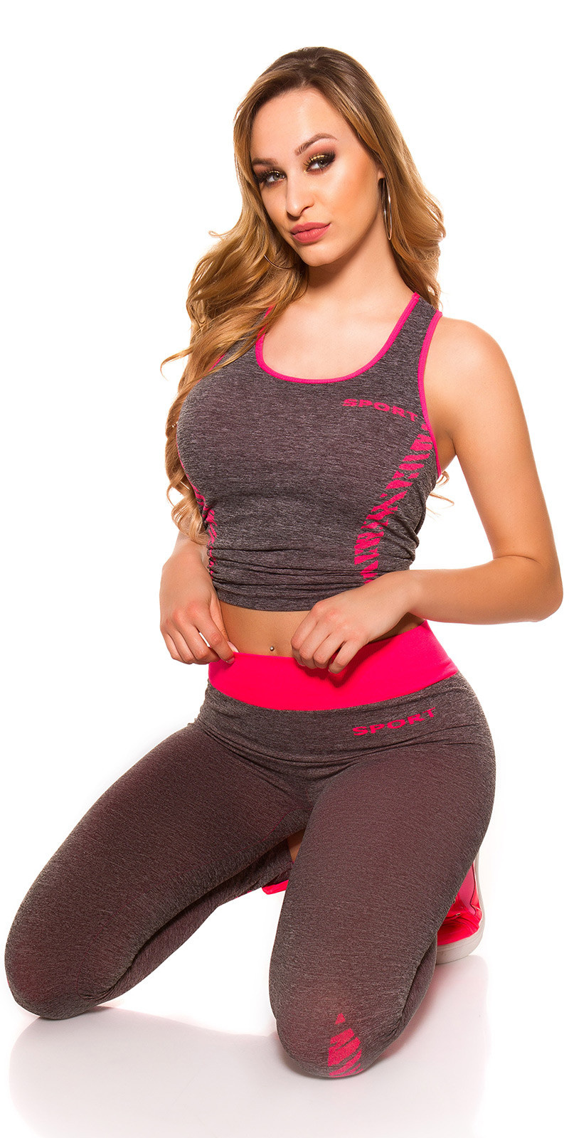 Trendy workout-sport outfit top + leggings fuchsiaroze