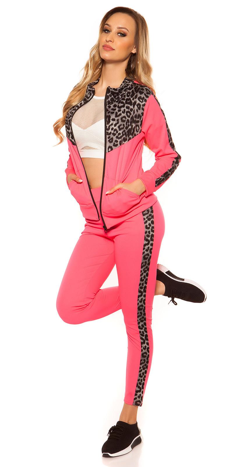 Trendy joggingbroek & sweatvest neonfuchsiaroze