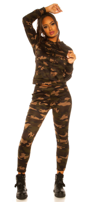 Trendy jogging suit army print Joggers & jacket Gold