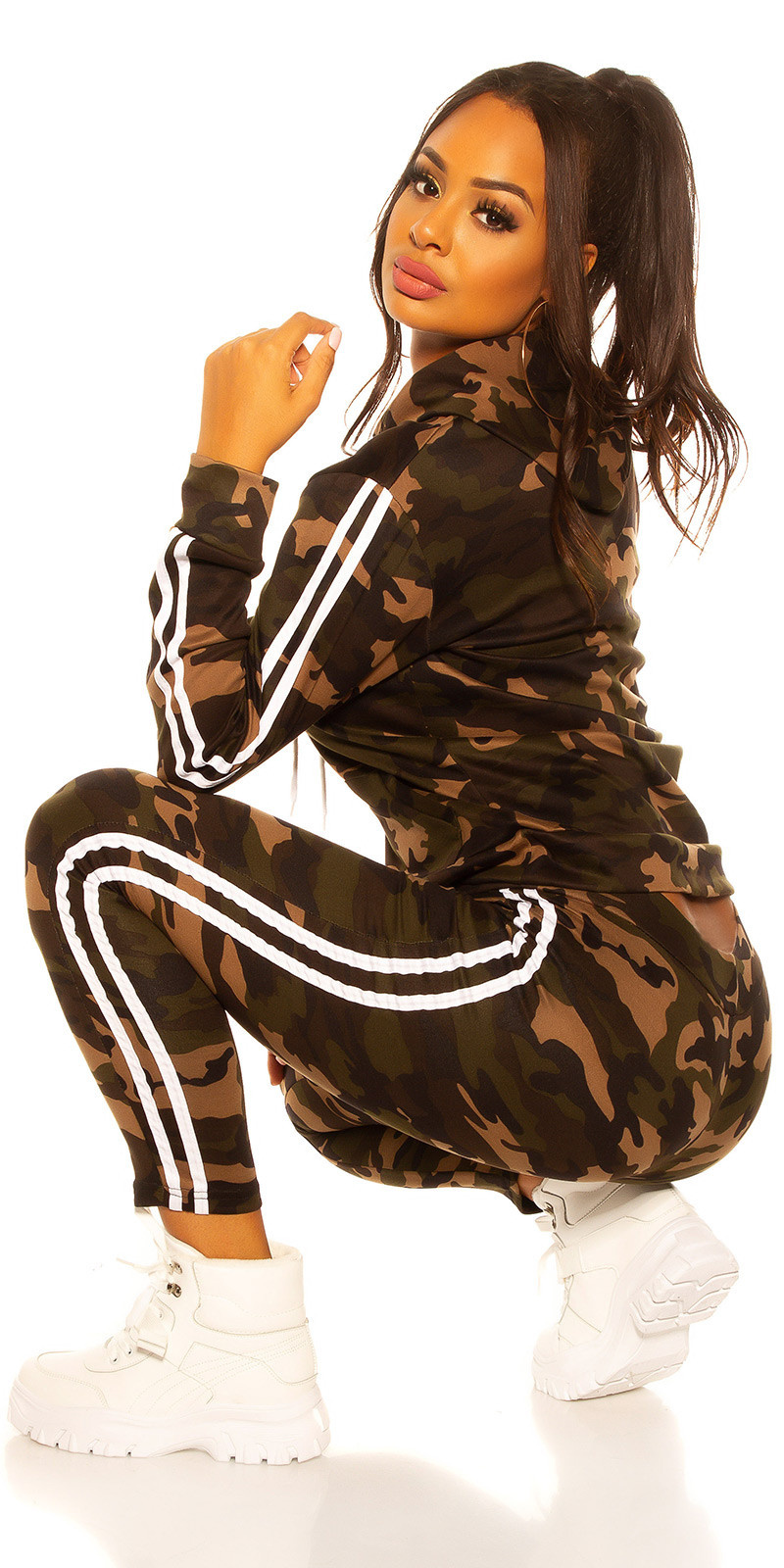 Trendy jogging pak leger-print joggingbroek & jas wit