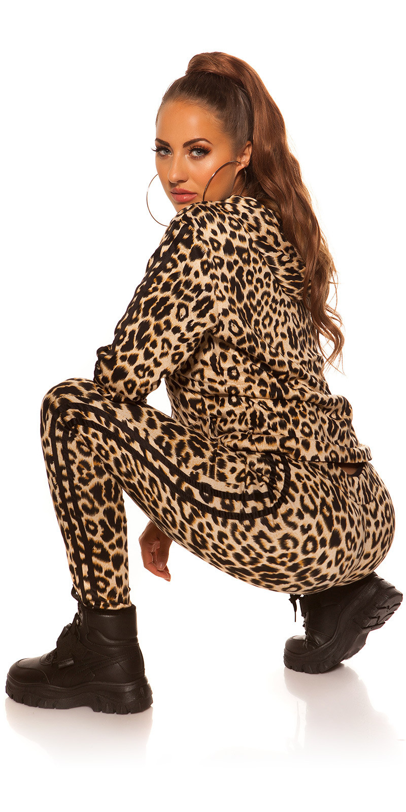 Trendy Jogging suit leoprint joggers&hoodie jacket Black