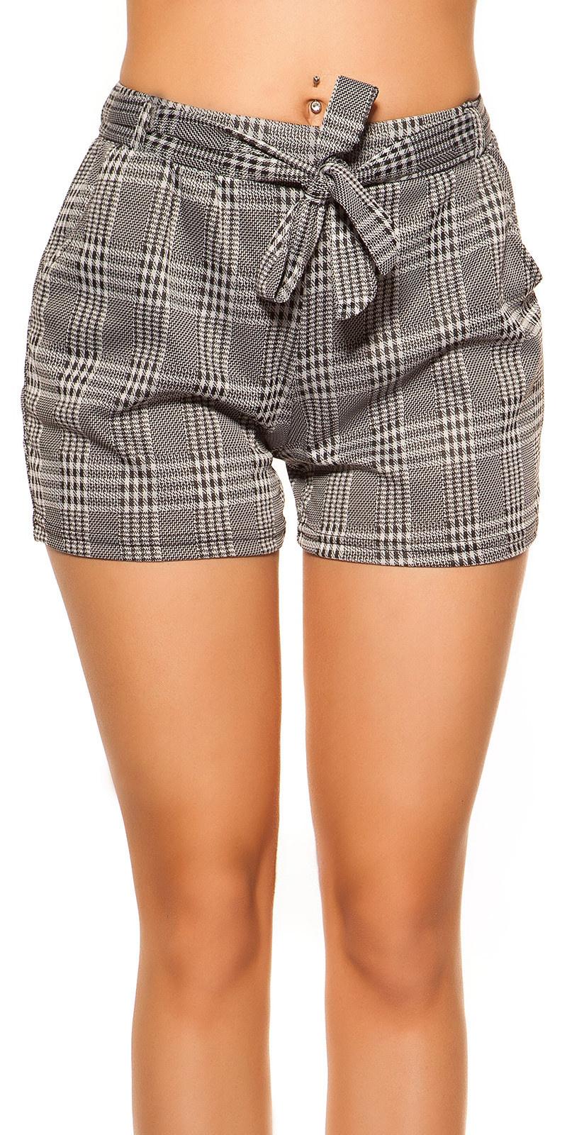 Trendy shorts checked with belt Blackwhite