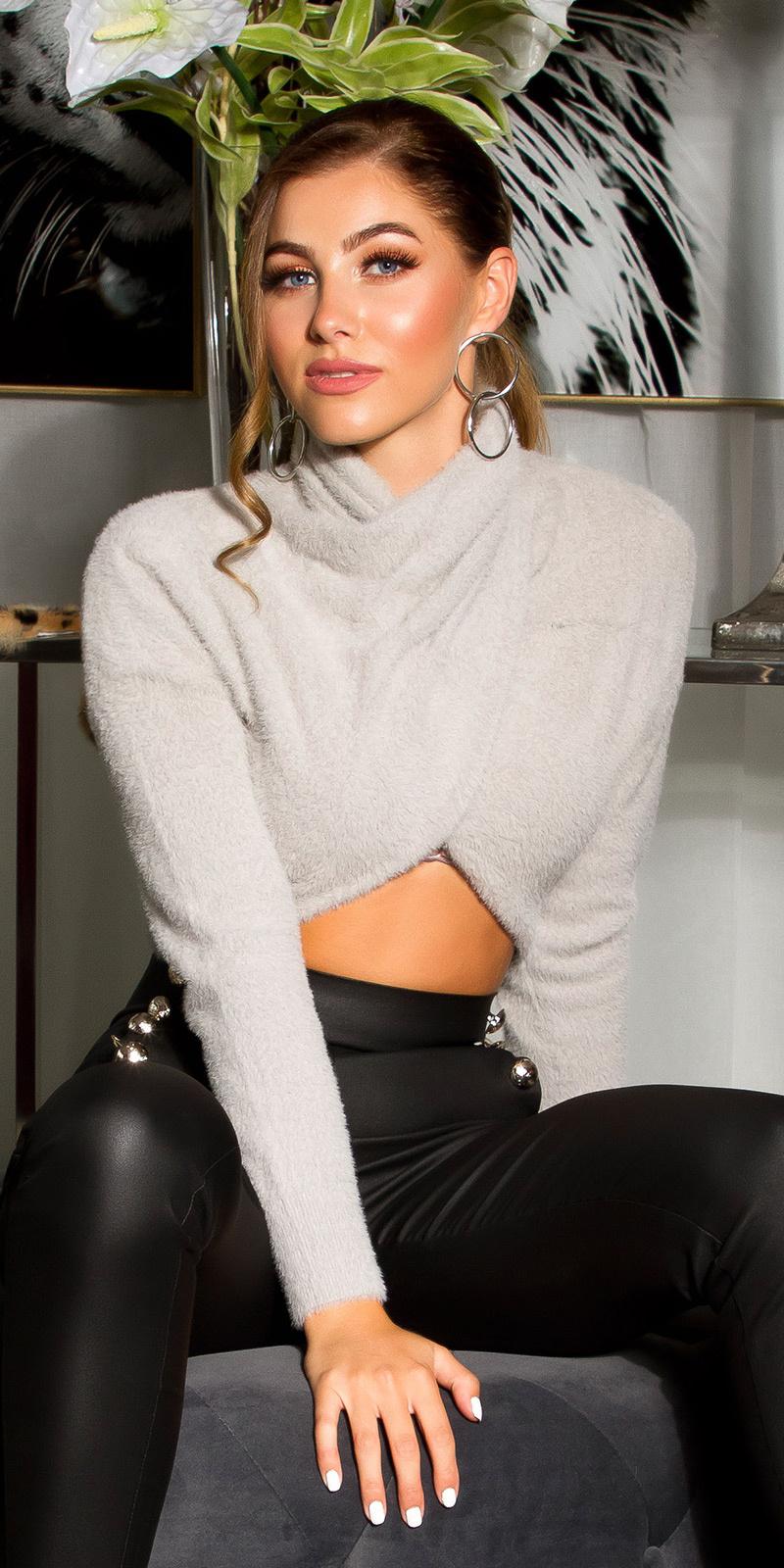 Sexy cozy cropped sweater-trui grijs