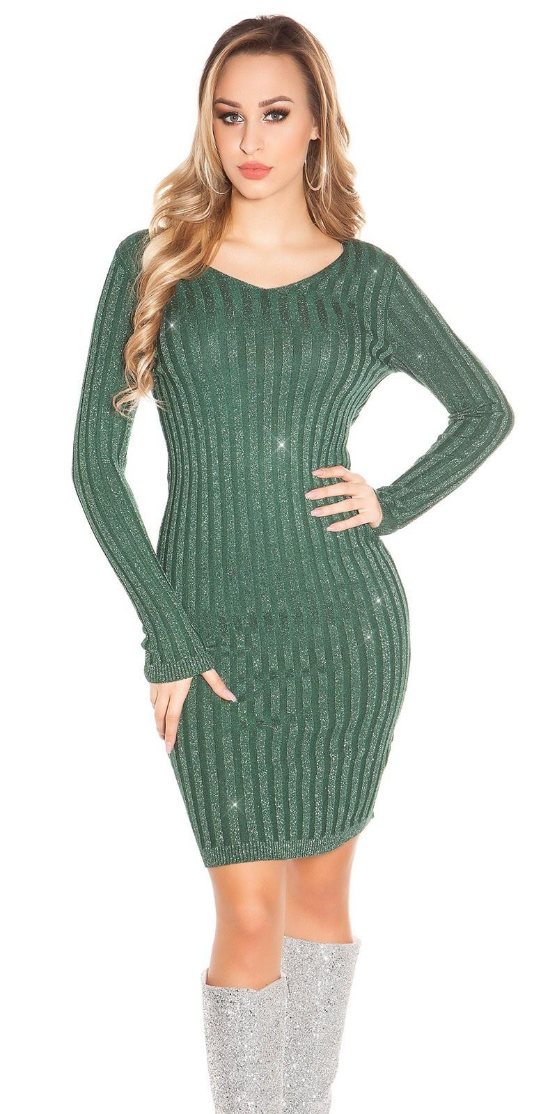 Sexy V-cut knit dress with glitter threads Green