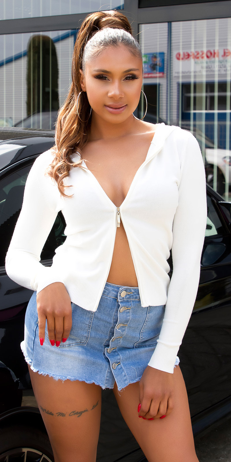 Trendy basic hoodie met ritssluiting wit