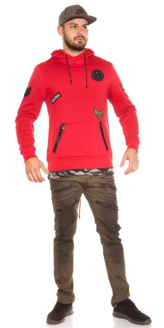 Trendy men s hoodie with patches Red