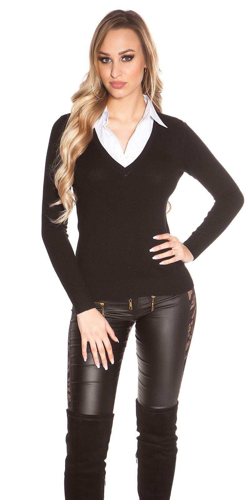 Trendy 2in1 V-Cut Pullover Black