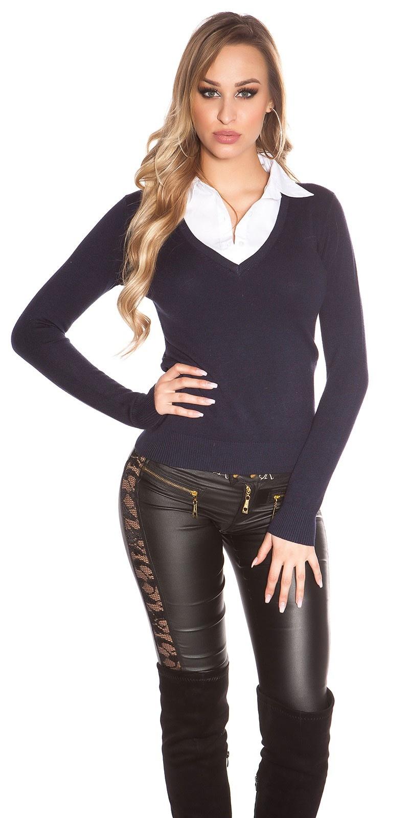 Trendy 2in1 V-Cut Pullover Navy