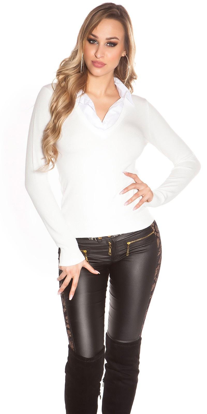 Trendy 2in1 V-Cut Pullover White