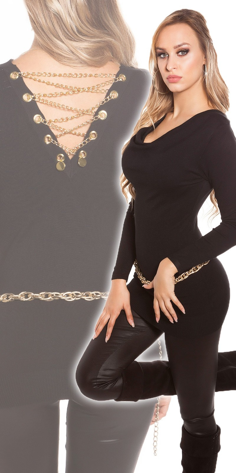Sexy Fineknit-Longsweater with chains Black