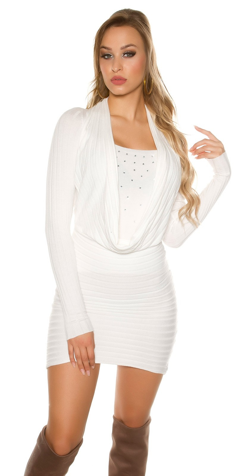 Sexy Knit-Minidress with rhinestones White