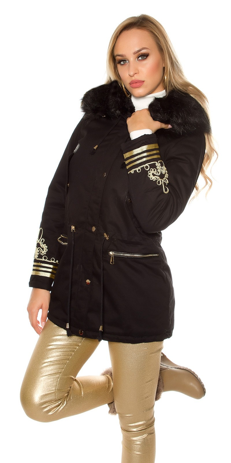 Trendy winter parka with hood and gold embroidery Black