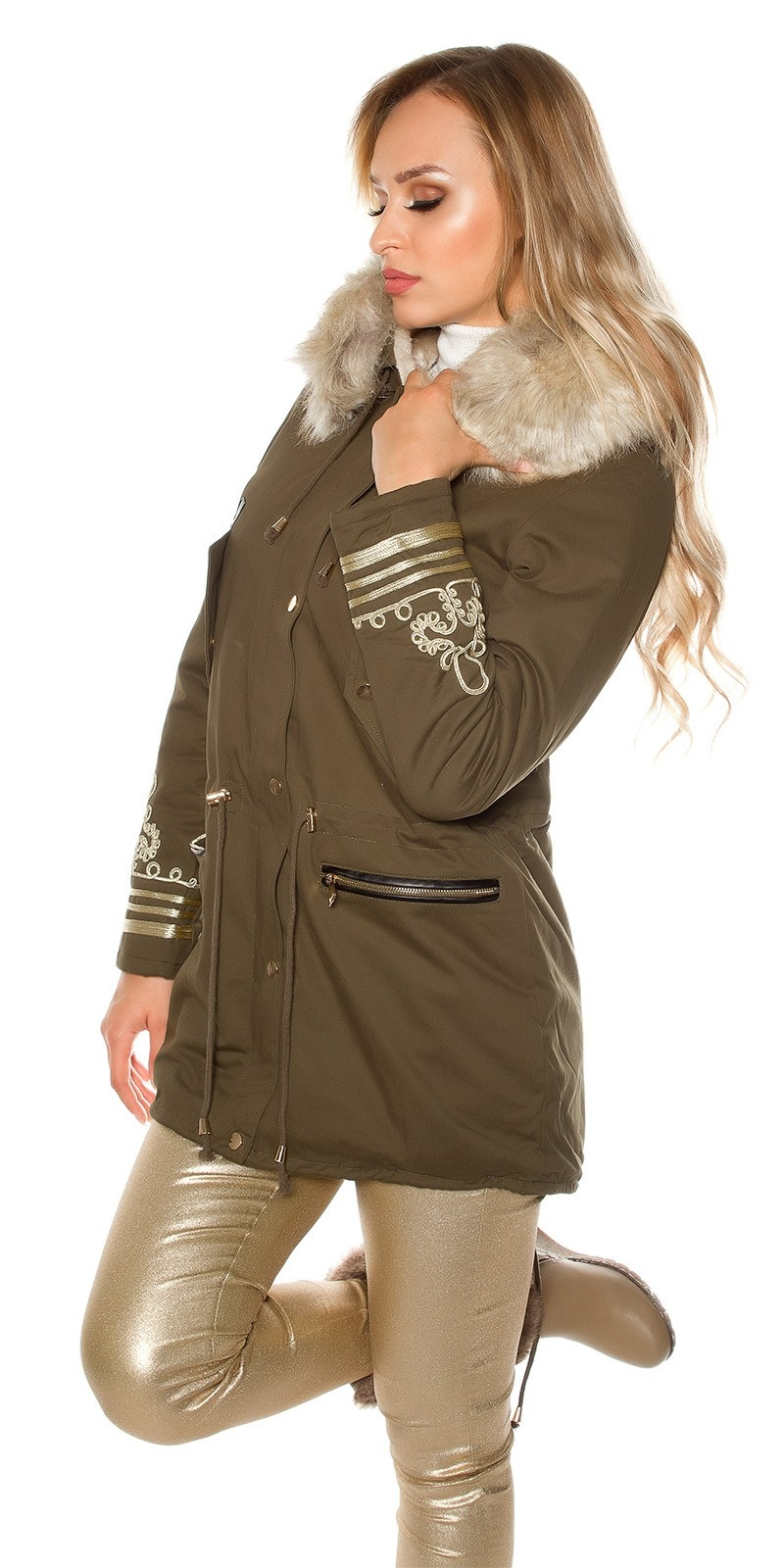 Trendy winter parka with hood and gold embroidery Khaki