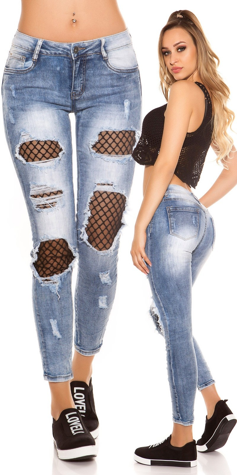 Sexy skinny jeans distressed look with mesh Jeansblue
