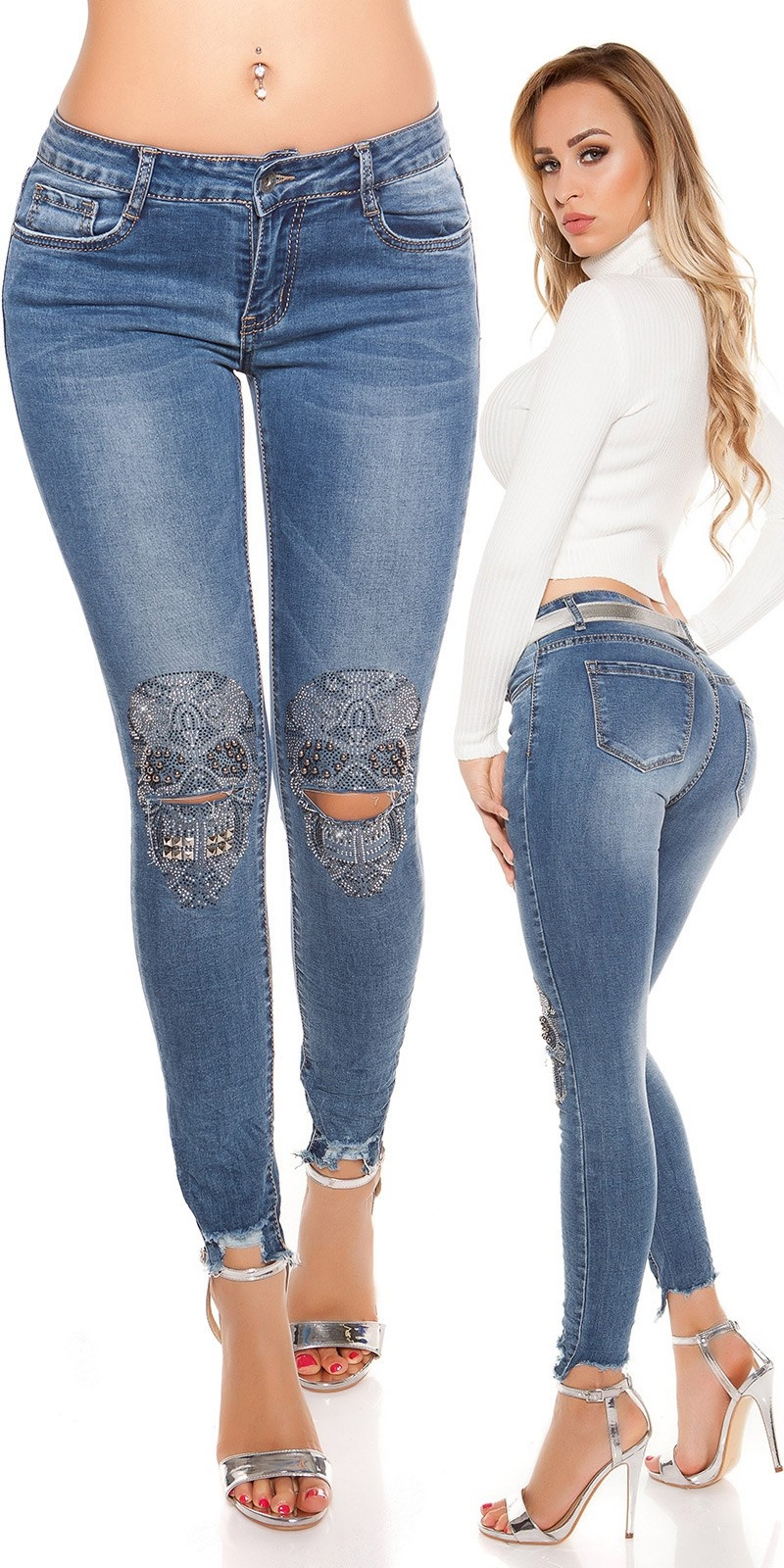 Sexy skinny Jeans with rhinestone/sequin skull Jeansblue