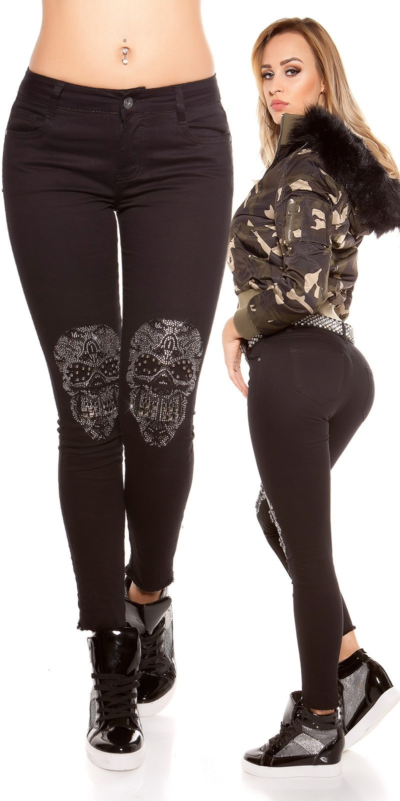 Sexy skinny Jeans with rhinestone/sequin skull Jeansblack