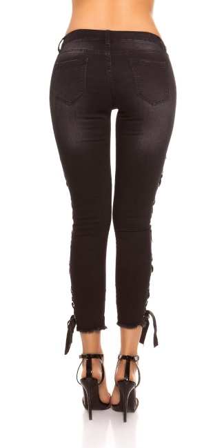Sexy skinny Jeans with lacing on the side Jeansblack