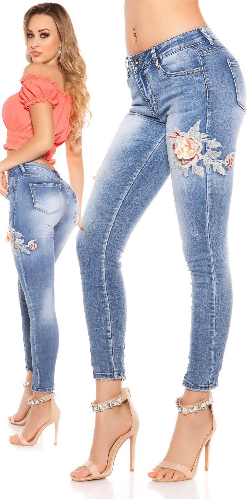 Sexy skinny jeans gebruikte used look met bloemen borduurwerk jeansblauw