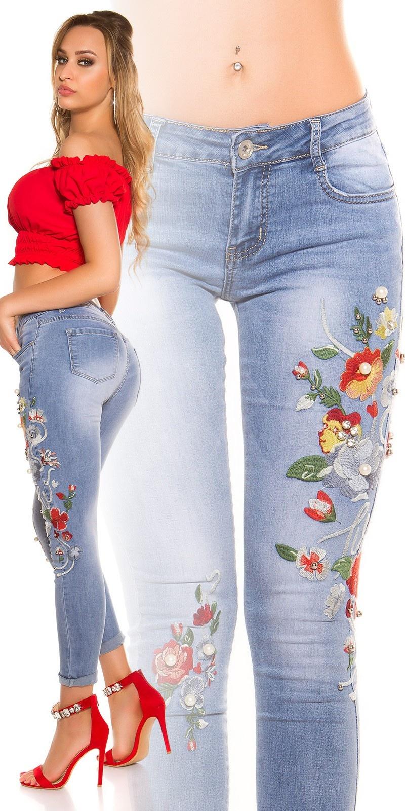 Sexy skinny jeans met borduurwerk en parels jeansblauw
