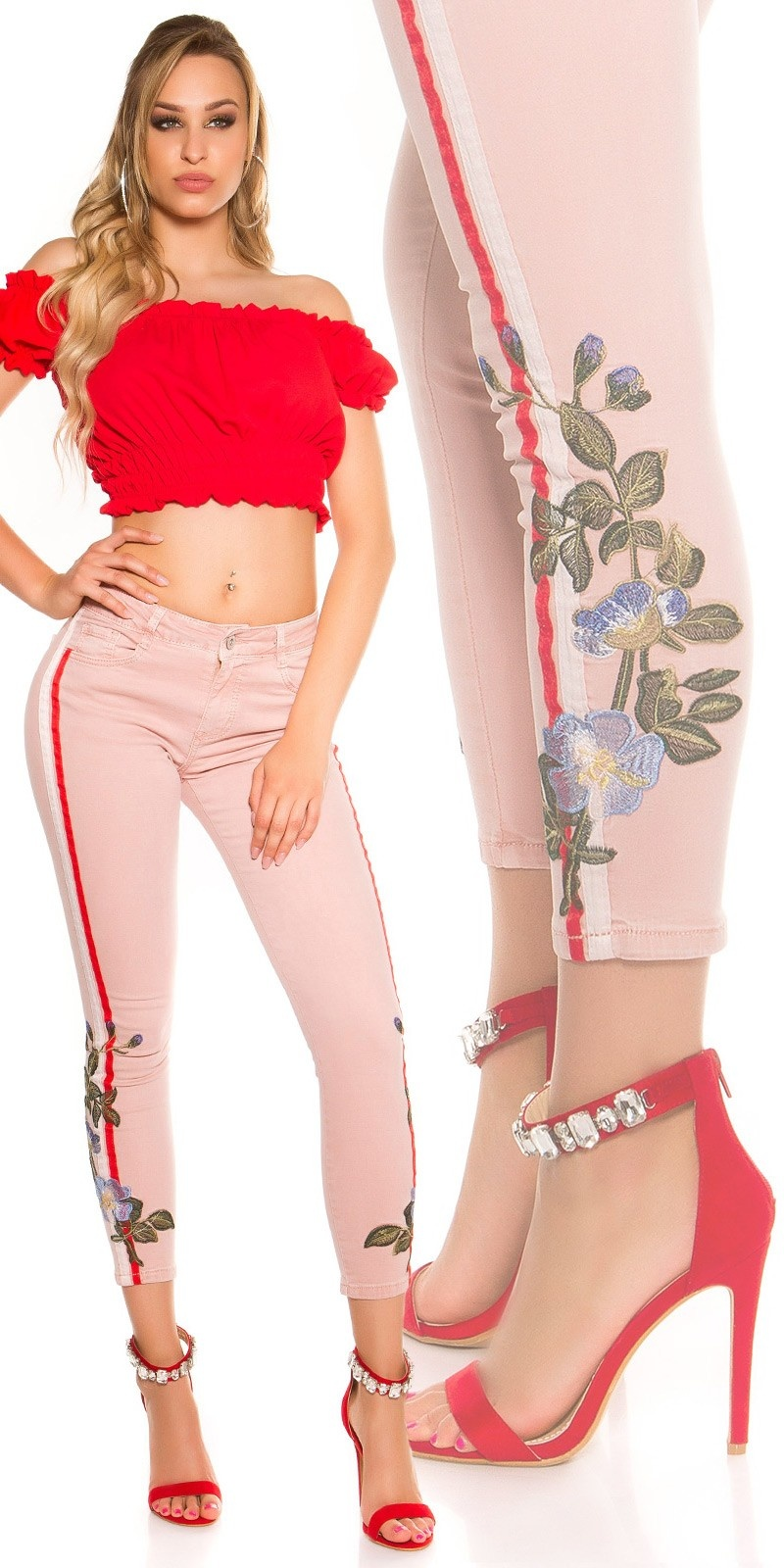 SexyJeans with contrast stripes & embroidery Antiquepink