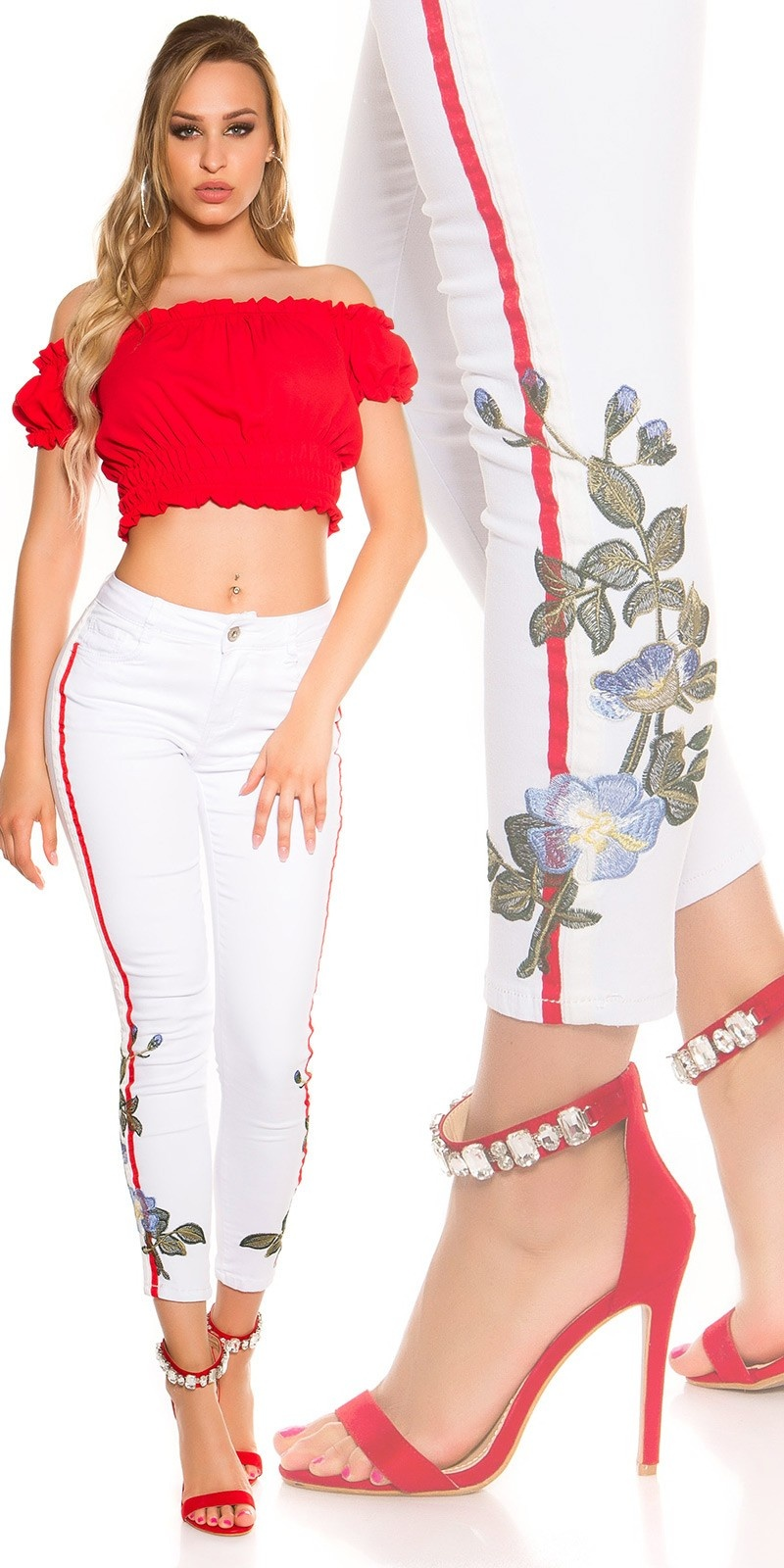 SexyJeans with contrast stripes & embroidery White