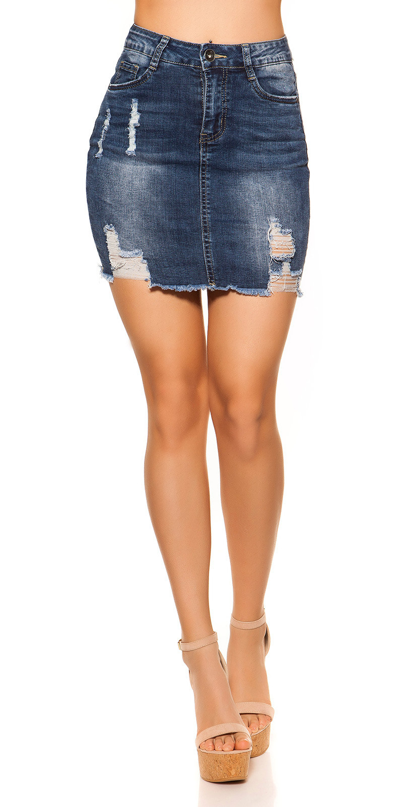 Sexy Jeans mini skirt used look 5 pockets Jeansblue