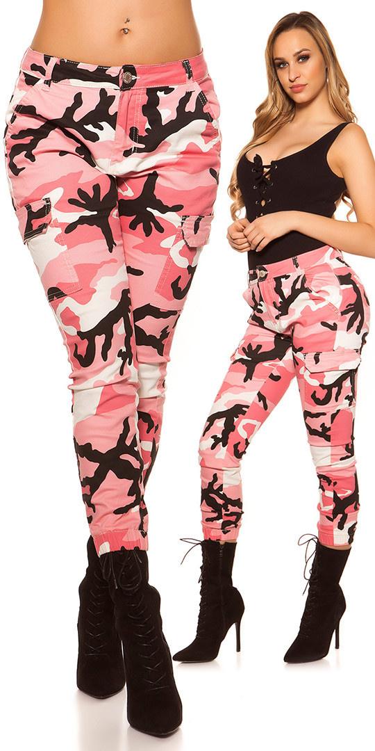 Sexy skinny camouflage cargo jeans fuchsiaroze