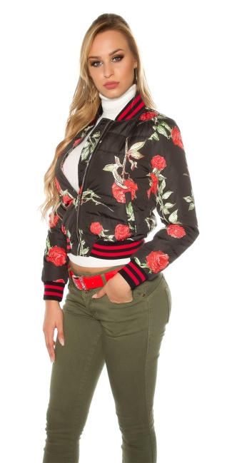 Trendy bomber jacket quilted with flower print Black