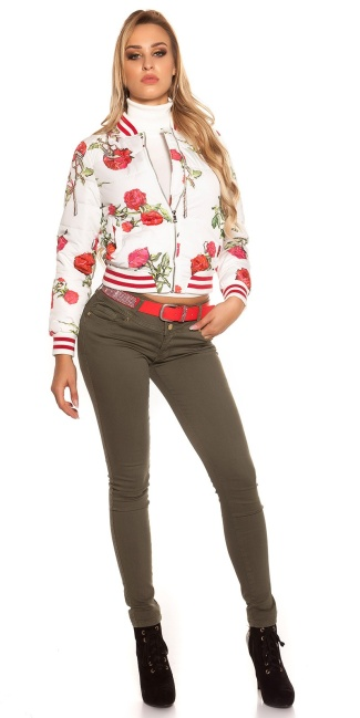 Trendy bomber jacket quilted with flower print White
