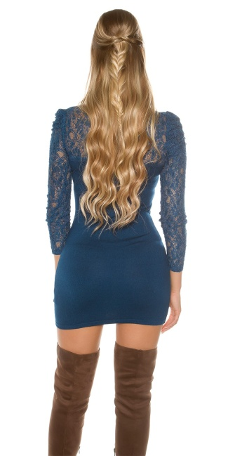 Sexy knitdress with lace and flower-brooch Blue