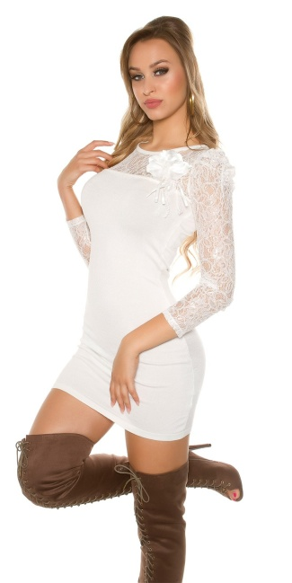 Sexy knitdress with lace and flower-brooch White