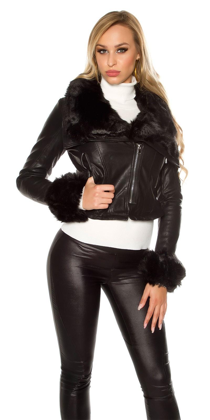 Sexy short leatherlook jacket with fake fur Black