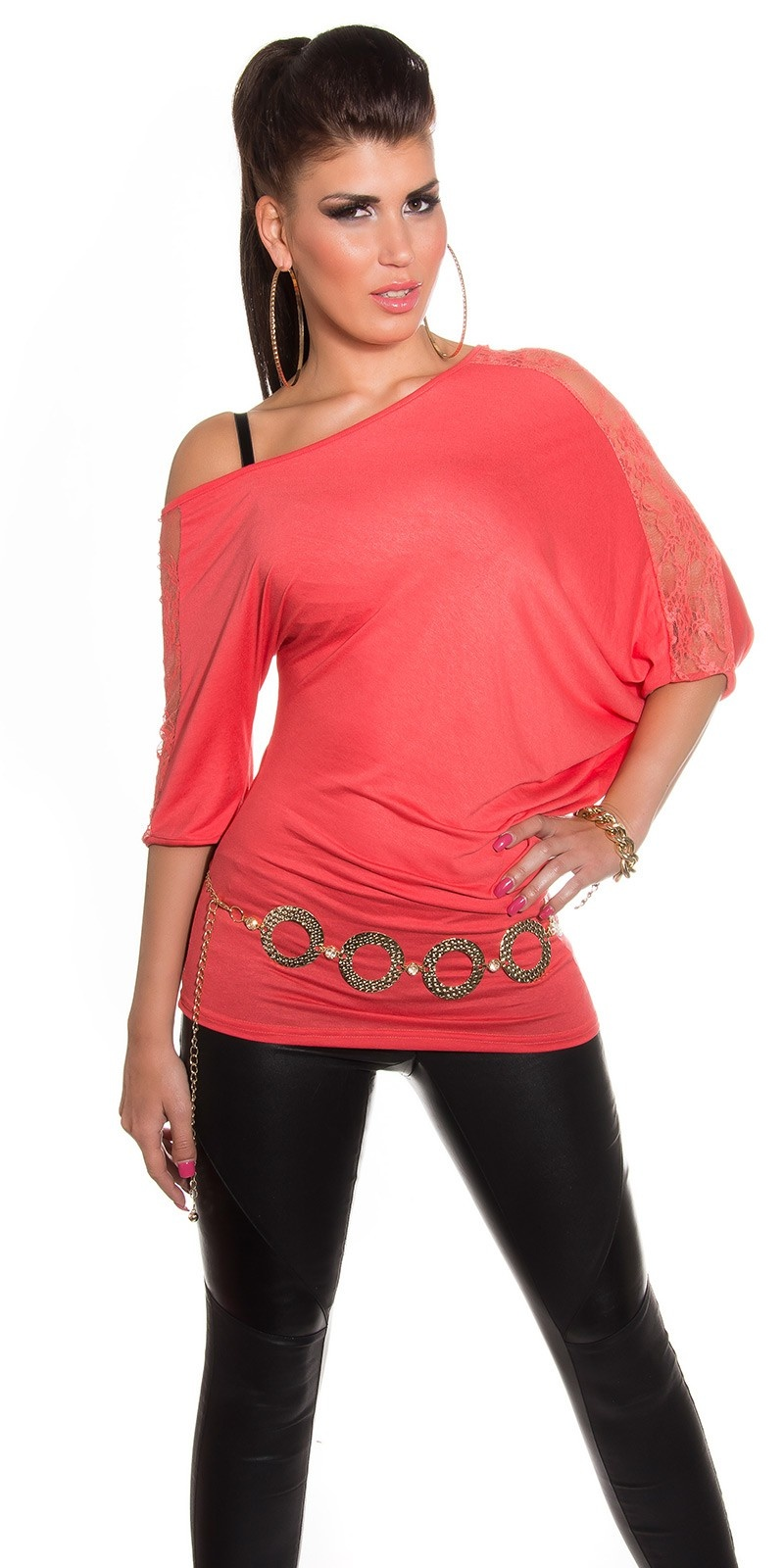 Sexy vleermuis-shirt asymmetrisch koraal-kleurig