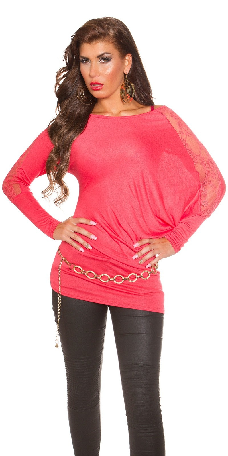 Trendy Koucla longarm-shirt with lace Coral