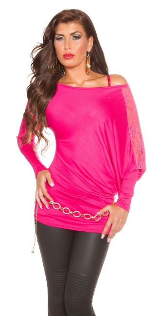 Trendy Koucla longarm-shirt with lace Fuchsia